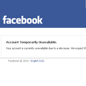 Screenshot of the Facebook Account temporarily unavailable error message