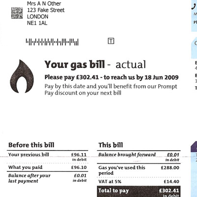 how to read a gas bill australia